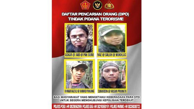 Polisi resmi merilis selebaran berisi wajah empat buron teroris Poso yang masih tersisa usai tewasnya Ali Kalora.
