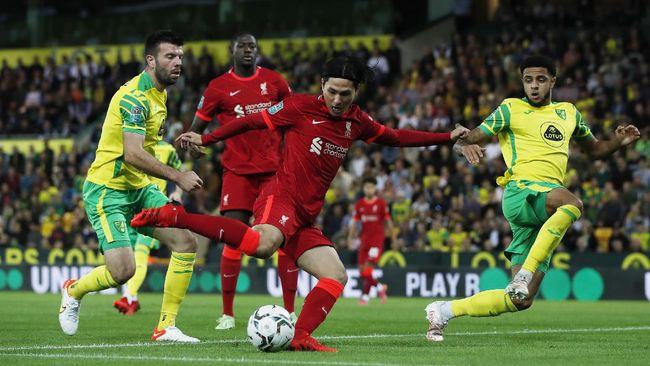 Liverpool menang 3-0 atas Norwich City dalam laga babak ketiga Piala Liga di Stadion Carrow Road, Rabu (22/9) dini hari waktu Indonesia.