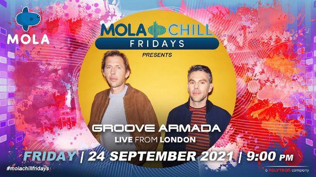 Mola Chill Fridays menghadirkan Groove Armada, duo musisi elektronik asal Inggris yang melambung namanya di akhir 1990-an untuk dinikmati Jumat malam ini.