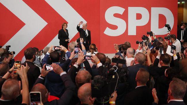 SPD menang tipis dengan perolehan suara sebanyak 25,7 persen dari Partai Uni Demokratik Kristen (CDU) dengan 24,1 persen suara.