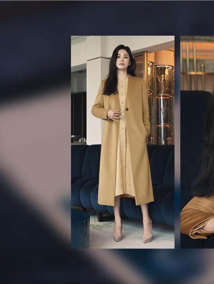 Gaya yang satu ini cantik banget, Beauties. Song Hye Kyo mengenakan dress dengan warna pastel yang dipadukan dengan long blazer berwarna hampir senada./Foto: sisun.com/MICHAA