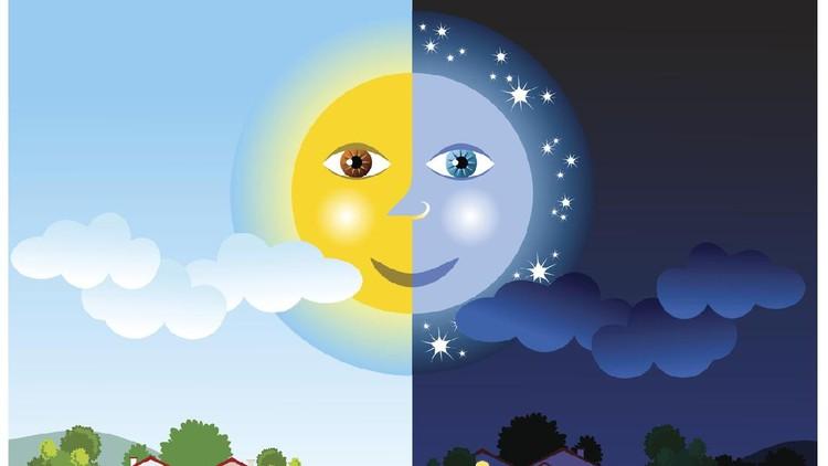 Ilustrasi matahari dan bulan