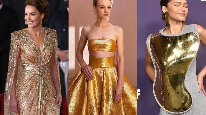 5 Selebriti Ini Berani Tampil Beda dan Glamor Memakai Gaun Emas di Red Carpet