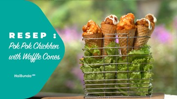 Resep Pok Pok Chicken with Waffle Cones
